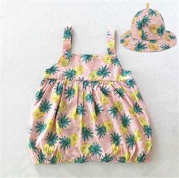Wholesale Leopard Print Dresses Jumpsuits - 2Pieces Baby Romper Dresses With Cap Print Flower Set Children Suit Cotton Toddler Infant Baby Girl Bodysuit Jumpsuit Sunsuit Outfits