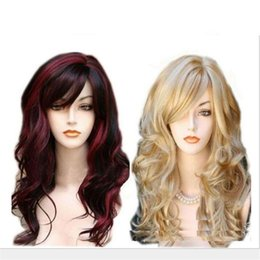 Wholesale Wig Golden - Golden long stage performance wig COS anime female hair for all the face of Europe and the United States popular new bea222