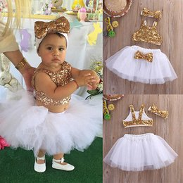 Wholesale Sequin Dance Outfits - Wholesale- kid children clothing summer princess infant Toddler Baby Girl Sequins party dance Tops+Tutu Skirts Headband 3pcs Outfits Set