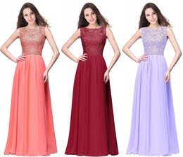 Wholesale Cocktail Evening Tops - Cheap Coral Long Prom Dresses 2018 New Arrival Lace Top A Line Chiffon Royal Blue Burgundy Evening Dresses Cheap In Stock CPS463
