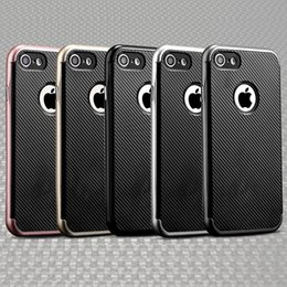 Wholesale Transparent Plastic Phone Case - New luxury metal hard case cover for Iphone 7 6S plus carbon fiber cell phone case soft TPU PC hybrid business design with retail packages