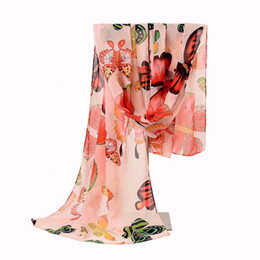 Wholesale Butterfly Pattern Scarves - Wholesale-New Design Colorful Fashion Size160*45cms Butterfly Animal Pattern Printing Women Scarf Shawls Chiffon Femme Girls Echarpe Cape