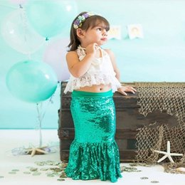 Wholesale Halter Top Flower Girl Dresses - 2017 New Fashion Mermaid Flower Girls Dresses Lace Top Sequined Skirts Two Pieces Kids Dance Party Gowns Beach First Communion Dress