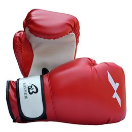 Wholesale Fighting Sports Gloves - New PU Leather Sport Training Equipment Boxing Gloves Kick Boxing MMA Training Fighting Sandbag Gloves Sanda Mittens Free Shipping