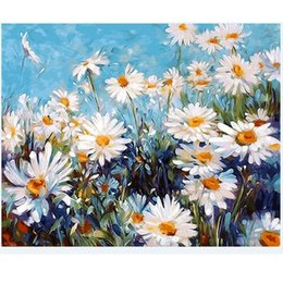 Wholesale Metal Wall Art Oil Painting - 1PC White Flower Oil Painting By Numbers Wall Pictures For Living Room Coloring By Numbers Canvas Painting Wall Art Decor