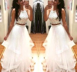 Wholesale Evening Dresses Open Backs - New White Two Pieces Prom Dresses 2018 Halter Neck Long Tulle Crystal Beads 2 Pieces Open Back Party Dress Evening Gowns