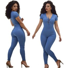 Wholesale Sexy Jumpsuits For Women Xl - Bodysuit Women New Tight Blue Straps Jumpsuit Overalls for Women Pure Sexy Rompers Fashion Casual Clothing