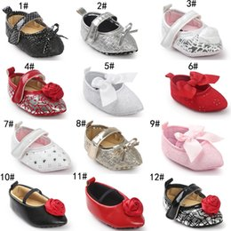 Wholesale Bling Bow Flats - 17 Styles Baby First Walker Shoes 2017 Spring Autumn Baby Fashion Rose Flower Bow Princess Soft Sole Leather Moccasin Flat Pointed Shoes
