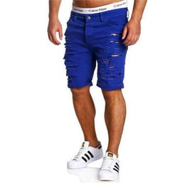 Wholesale Men S Work Clothing - Wholesale- 2017 Cargo Shorts Men Hot Sale Casual Ripped Holes Summer Brand Clothing Cotton Male Fashion Jogger Work Shorts Men