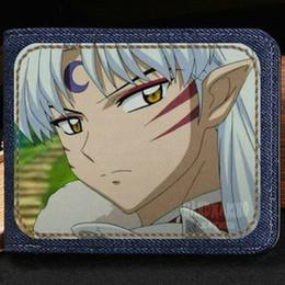 Wholesale Inuyasha Anime - Sesshoumaru wallet Inuyasha stylish cartoon purse Anime short cash note case Money notecase Leather burse bag Card holders
