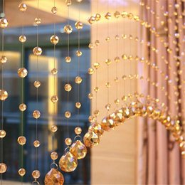 Wholesale Decoration Wedding Glass Beads - Hot sale 5pc One meters of crystal glass bead curtain curtain channel background DIY Home Furnishing wedding decoration