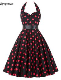 Wholesale Retro Club Dresses - High Quality Brand Womens Summer Style Dresses 2017 Plus Size 50s 60s Robe Vintage Retro Pin Up Swing Polka Dot Rockabilly Dress