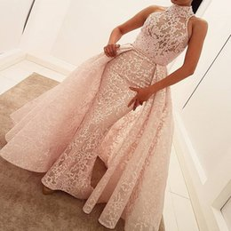 Wholesale High Neckline Prom Dresses - Hihg Neck Lace Mermaid Prom Dresses With Detachable Train Sheer Neckline Sleeveless Evening Dress Sweep Train African cocktail party dresses