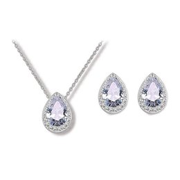 Wholesale Teardrop Rhinestone Necklace - High Quality Cubic Zirconia Water drop Wedding Necklace And Earrings Kit Luxury Crystal Bridal teardrop Jewelry Sets For Bridesmaids
