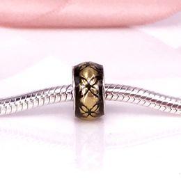 Wholesale Golden Cubes - Floral Vintage, Golden Enamel Charm Fit DIY Pandora Bracelet Authentic 925 Sterling Silver Fine Jewellery 791034EN29