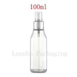 Пластиковые прозрачные квадратные бутылки онлайн-100 мл х 50 пустой прозрачный квадратный пластиковый роскошный опрыскиватель контейнер 100cc духи туман спрей бутылки ясно спрей насос бутылка