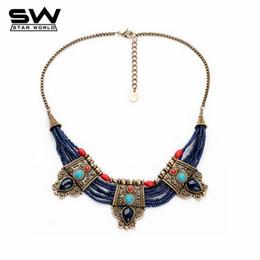 Wholesale Blue Turquoise Statement Necklace - Wholesale-Vintage Nepal Indian Tibetan Buddhism Bohemian Blue Beads Turquoise Ruby Gems Womans Pendants Statement Necklaces