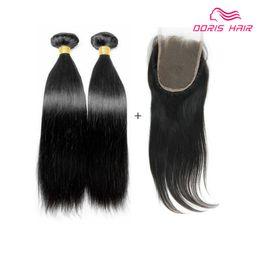 2020 vierge chinoise cheveux raides Livraison gratuite fermeture à lacet avec 2 faisceaux armure de cheveux humains Droite brésilienne indien chinois vierge trames de cheveux humains avec fermeture promotion vierge chinoise cheveux raides
