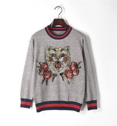 Wholesale Floral Jumper - 2017 New Fall Luxury Fashion Runway Designer Women Sweater Pullover Sequins Shinny Cat Floral Knitted Tops Warm Winter Jumper