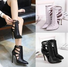 Wholesale Sandals Woman Shoes China - Gladiator Sandals Women Designer Brand Black Women Pumps Pointed Toe Heels Stiletto Ladies Heels Shoes Made In China
