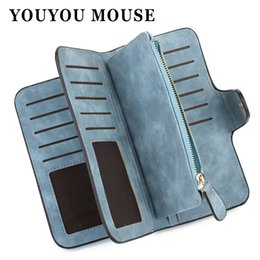 Wholesale Womens Large Wallets - YOUYOU MOUSE Korean Style Womens Wallet Matte Long Section Purse PU Leather Large-Capacity Hasp Purse Wallet For Women