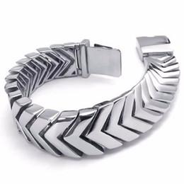 braccialetto largo pesante Sconti cool mens bracciali in argento gioielli pesanti bracciale in acciaio inossidabile 316l bracciale da uomo biker bracciale NB19