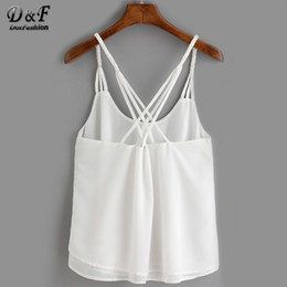 Wholesale Woman White Plain Shirt - Wholesale-Ladies Tops Casual Style Summer Woman Shirts 2016 Plain White Spaghetti Strap Back Cross Loose Chiffon Cami Top