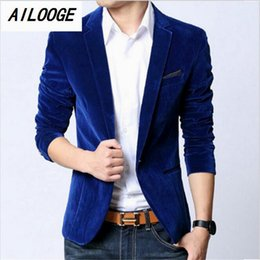 Wholesale Long Coats For Mens - Wholesale- AILOOGE 2016 Mens blazer slim fit suit jacket black navy blue velvet 2016 spring autumn outwear coat Free shipping Suits For Men