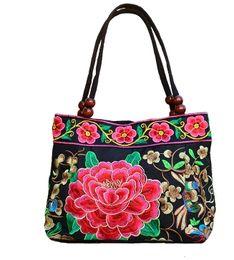 Wholesale Embroidered National Trend Bag - Hot 2017 quinquagenarian women's handbags national trend embroidered bag embroidery vintage canvas all-match small bag handbag Free shipping