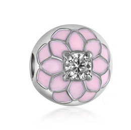 Wholesale Silver Plated Stoppers - Fit Sterling Silver Bracelet Anti Dropping Magnolia Enamel sakura european stopper Clip Lock Charm Fits pandora Bracelet jewelry findings