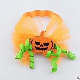 Wholesale Pumpkin Ornament - Halloween Kids Girls Funny Pumpkin Headbands Festival Party Children Elastic Headwrap Hair Accessories Handmade Hair Ornament Kids Headdress