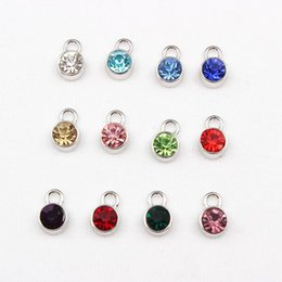 Wholesale Glass Birthstone Locket - Wholesale-Mix 60pcs Crystal Birthstone Floating Locket Charms Fit For Floating Glass Lockets