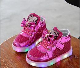 2019 sapatos olá Sapatos infantis Luzes brilhantes Primavera Olá Rhinestone Levou Sapatos Meninas Princesa Sapatos Bonitos Sapato europeu tamanho: 21-30 desconto sapatos olá