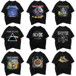 Vêtements rock pour hommes en Ligne-Mens Designer T Shirts Lâche Peur de Dieu Jeunes Garçons Rock band 3D Tee Print Hip hop Noir Couleur Casual Clothes