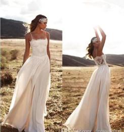 UK wedding dress line sheath - Vintage Lace 2017 Boho Lurelly Beach Wedding Dresses Spaghetti A-line Sheath Chiffon Floor Length Bridal Dresses Simple Cheap BA3353