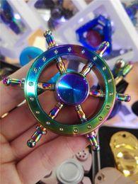 Wholesale Mini Steering Wheel - Colorful Captain Rudder Hexagonal Fidget Spinner Steering Wheel EDC Hand Spinner Decompression Toys