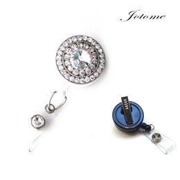 Wholesale Wholesale Bling Retractable Badge Holders - Clear Rhinestone Bling Crystal reel retractable ID badge holder for women, office worker, student - Clear round shape