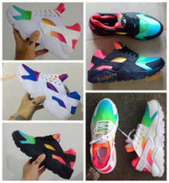 Wholesale Colorful Womens Shoes - 2017 Air Cushion Ultra Huarache Running Shoes Huaraches Colorful Basketball Shoes Trainers Men And Womens Sneakers Rainbow Size 36-45