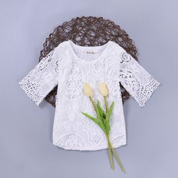 Wholesale Half Sleeves Tops - Baby girl clothing crochet lace top white half flare sleeve Ins baby clothes 2017 summer European hotsale 6months-36months