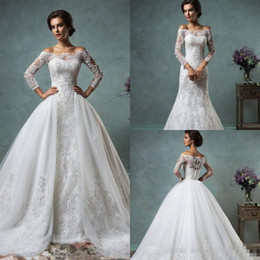 Wholesale Sexy Lace Summer Wedding Gowns - Vintage Lace Wedding Dresses with Detachable Skirt Cheap Modest Sheer Long Sleeve Plus Size 2017 Amelia Sposa Sequins Beach Bridal Gowns