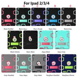 2019 lujo caso ipad3 Soporte Armor Hybrid Hard PC + Funda de silicona 3 en 1 Defensor resistente a prueba de golpes para Ipad Mini 1 2 3 4 Air 2 Ipad6 Funda de piel para tableta Lujo lujo caso ipad3 baratos