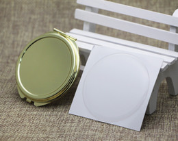 Wholesale Round Metal Match - Blank Compact Mirror DIY Wholesale Mirrors With Match Resin Domed Sticker Gold Color M0832G FREE DHL FEDEX SHIPPING