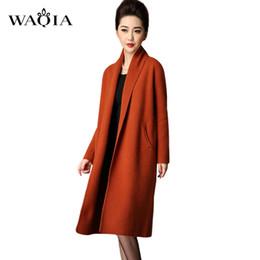 Wholesale Cardigan Sweaters Large Women - Wholesale- 2017 New vestidos Autumn winter Fashion turn-down collar women Jacket gray Large pockets sweater Ladies knitted long cardigan