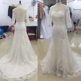 Wholesale Images Corset Wedding Gowns - 2017 Vintage Wedding Dresses Ivory And Champagne Half Sleeves Lace Sheer Backless Romantic Bridal Gowns Corset Scoop Bride Dress Court Train