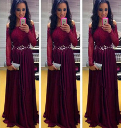 Wholesale maroon chiffon - Hot Sale Maroon Off the Shoulder Long Sleeves Formal Party Gowns Long Chiffon Prom Dresses 2017 Sexy Evening Wear with Beaded