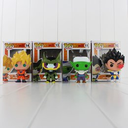Wholesale Cell Action Figure - EMS 9-12.5cm FUNKO POP Dragon Ball Z Son Goku Vegeta Piccolo Cell PVC Action Figure Collectible Model Toy