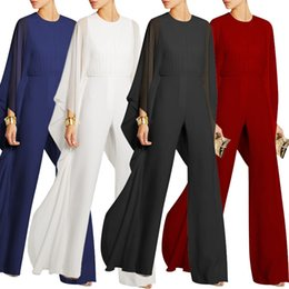 Wholesale Working Women Jumpsuit - O-neck work wear woman jumpsuit chiffon full length female rompers solid wide leg trousers for woman