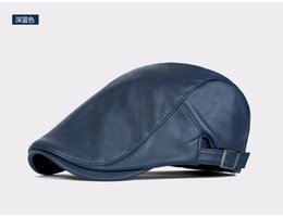 Wholesale Peaked Cap Leather - Wholesale-PU Beret Lovers Fashion Leather Newsboy Hats Adult Casual Ivy Hats Women and Men Flat Peak Caps
