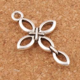 Colares de olho cruz on-line-Abrir Oco Olho Design Cruz Encantos 150 pçs / lote Pingentes De Prata Tibetano Moda Jóias DIY L466 16.9x27.9mm