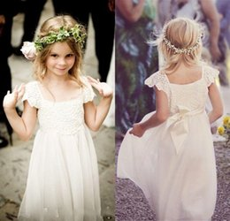 Wholesale Dress Girls Boho - Boho Beach Cap Sleeves Flower Girl Dresses 2017 Lace Chiffon Kids Formal Gowns for Weddings with Sash First Communion Floor Length